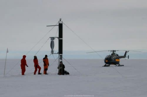 Assembly of Windside wind turbine in Antarctica