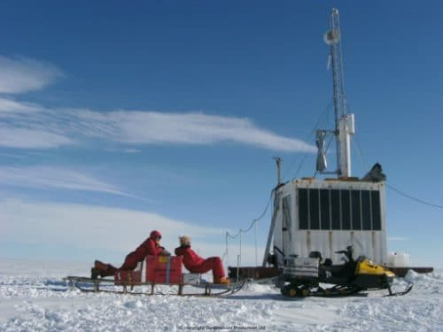 An installed Windside Wind turbine at a research station in the Antarctica