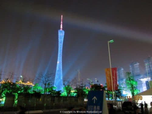 Guangzhou city at night. Canton TV- and observation tower