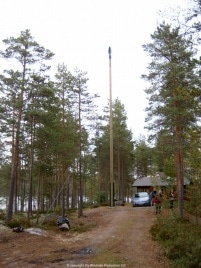 Windside WS-0,30C producing power for an off-grid summer cabin in Finland.