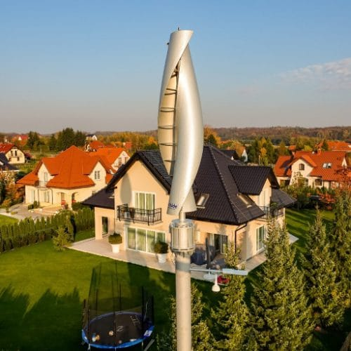 A 4 meter high vertical-axis wind turbine supplementing energy needs of a household