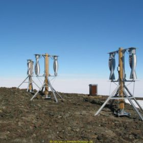 Six WS-0,30A8 wind turbines at Aboa Station in Antarctica. Photo by Petri Heinonen