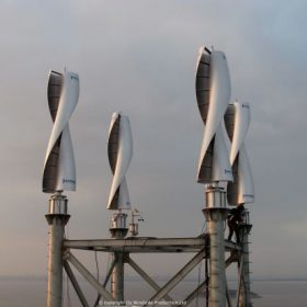Four Windside WS-4B wind turbines producing power for a radar station in China