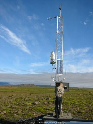 Windside WS-0,15B wind turbine producing energy for public road administration in Iceland