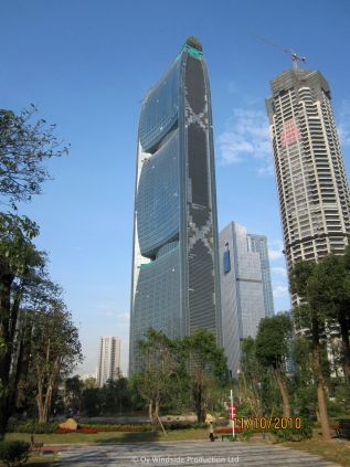 Four Windside WS-10 in wind tunnels that go through Pearl River Tower in Guangzhou, China